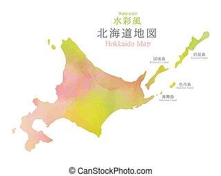 región, mapa, textura, acuarela, hokkaido, japón