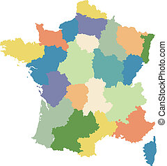 regiões, mapa, dividido, frança