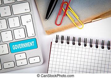 regierung, concept., computertastatur, auf, a, weißes, büroschreibtisch, mit, verschieden, posten