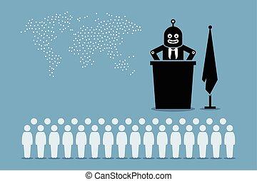 regierung, land, roboter, künstlich, human., kontrollieren, präsident, welt, intelligent