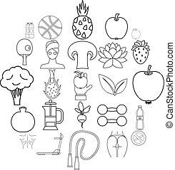 Regimen icons set, outline style - Regimen icons set....