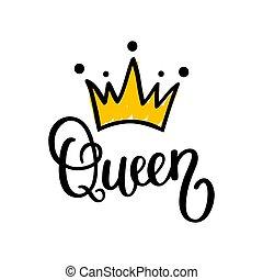 regina, corona, calligrafia, vettore, disegno