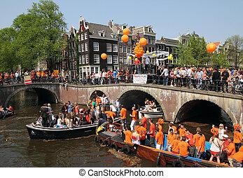 regina, giorno, in, amsterdam, uno, unico, carnival-, 30th,...
