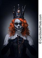 regina, halloween, femmina, pauroso, morte