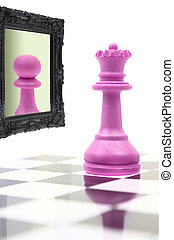 regina, osservando specchio, vedere, pegno, in, riflessione
