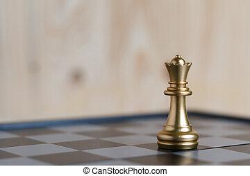 regina, set, scacchi, oro, asse