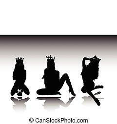 regina, sexy, silhouette, vettore