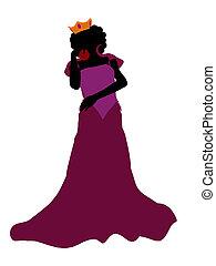 regina, silhouette, male, illustrazione