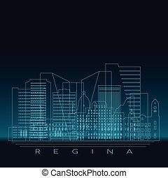 Regina skyline, detailed silhouette.