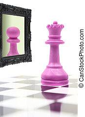 regina, vedere, pegno, specchio, riflessione, dall'aspetto
