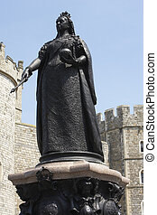regina victoria, esterno, statua, castello, windsor