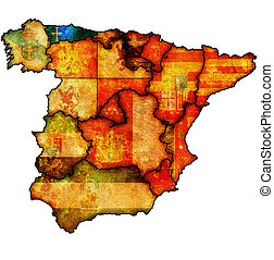 region of asturias - asturias region on administration map...
