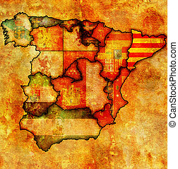 catalonia region on administration map of regions of spain with flags and emblems