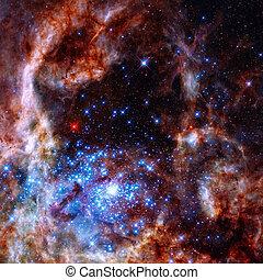 Region of the Tarantula Nebula in the Large Magellanic Cloud.