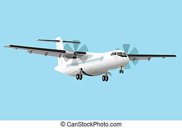Regional airplane - Regional turboprop airplane vector