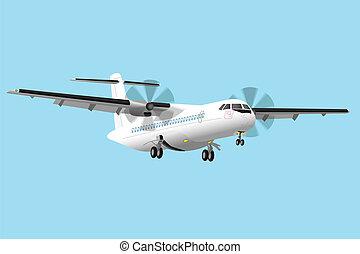 Regional turboprop airplane vector