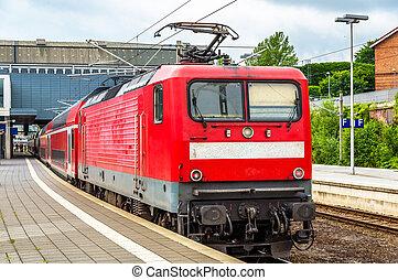 regional, trem expresso, em, lubeck, principal, estação