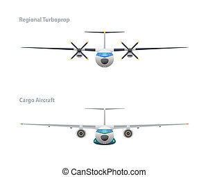 Regional turboprop and cargo aircraft. Vector illustration. EPS10.