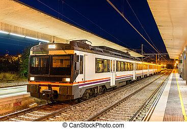 regionale, tog, hos, tudela, af, navarra, jernbane station, -, spanien