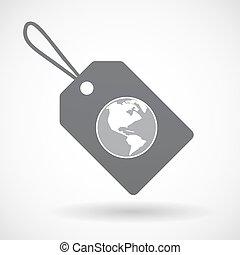 regione, isolato, etichetta, mondo, america, globo