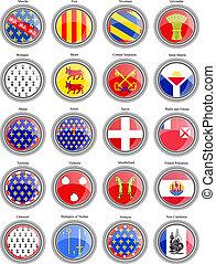 regiones, flags., francia