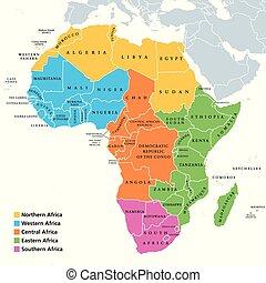 regioni, mappa, singolo, africa, paesi