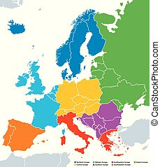 Regions of Europe, political map, with single countries