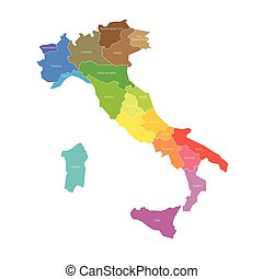 Regions of Italy. Map of regional country administrative...