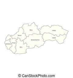Regions of Slovakia. Map of regional country administrative divisions. Colorful vector illustration