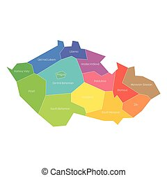 Regions of the Czech Republic. Map of regional country administrative divisions. Colorful vector illustration