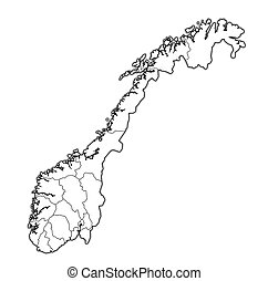 administrative divisions and borders on map of norway over whitel background