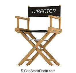 regissörer stol, isolerat, vit, action: