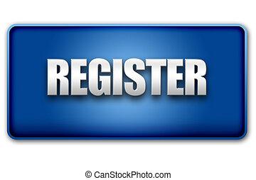 Register 3D Blue Button on White Background - Register 3d...