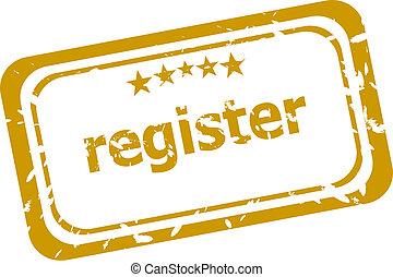 register, frimærke, isoleret, på hvide, baggrund