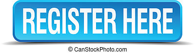 register here blue 3d realistic square isolated button