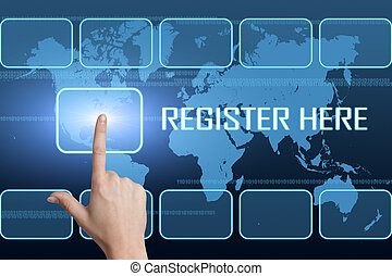 Register here concept with interface and world map on blue background