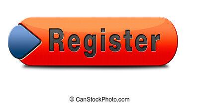 register here en no sign or icon. Membership registration ...