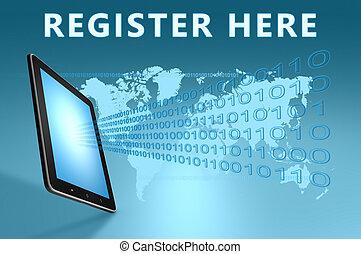 Register here illustration with tablet computer on blue background