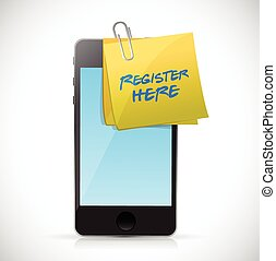 register here post and phone. illustration design over a white background