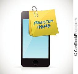register here post and phone. illustration design