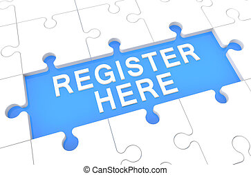 Register here - puzzle 3d render illustration with word on blue background