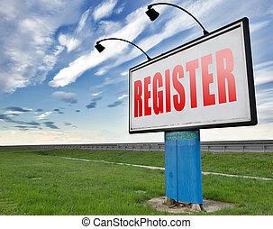 register here - register now member registration road sign ...