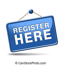 register here sign - register here en no sign or icon. ...