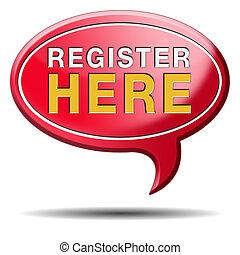 register here sign - register here en no sign or icon. ...