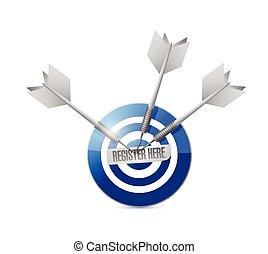 register here target and dart illustration