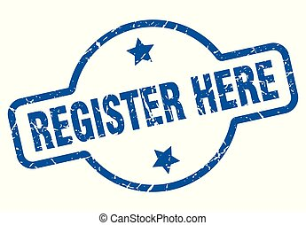 register here vintage stamp. register here sign