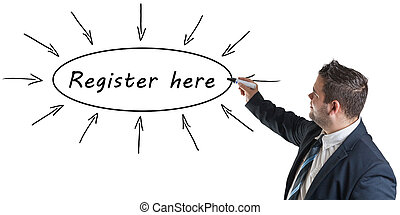 Register here - young businessman drawing information ...