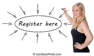 Register here - young businesswoman drawing information ...