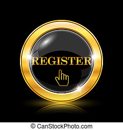 Register icon - Golden shiny icon on black background -...