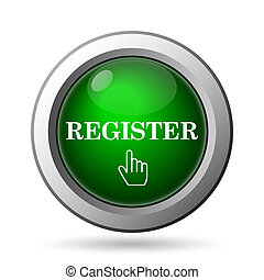 Register icon. Internet button on white background